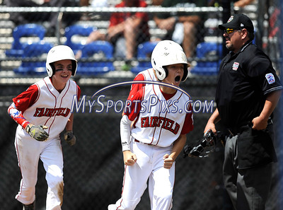 8/11/2016 Mike Orazzi   Staff Fairfield American's Matthew Sawyer (10) right after his home run during the Eastern Regional Little League Tournament on Thursday.