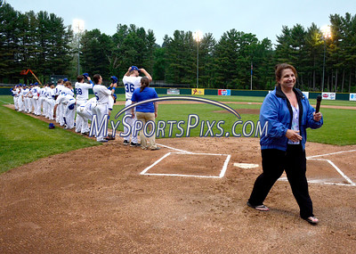 6/3/2016 Mike Orazzi | Staff  Maria Salice sings the Star Spangled Banner during the home opener of the Bristol Blues at Muzzy Field Friday night.