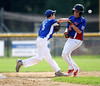 8/9/2016 Mike Orazzi | Staff<br /> New Jersey's Drew Montgomery (25) forced out at second by Pennsylvania's Kaden Falls (5) during the Eastern Regional Little League Tournament at Breen Field in Bristol Tuesday.