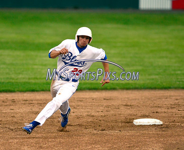 6/3/2016 Mike Orazzi | Staff  The Bristol Blues's Lorenzo Arcuri (29) on his way to third base during the home opener at Muzzy Field Friday night.