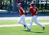 8/4/2016 Mike Orazzi | Staff<br /> Bristol American Legion's Ben Mazzone (8) and Andrew Owsianko (10) during a win over Vermont in the American Legion Eastern Regional Baseball Tournament at Muzzy Field Thursday afternoon.