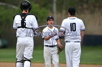 5/10/2016 Mike Orazzi   Staff St. Paul's Chadd Richardson (15), Mike Dombrowski (1) and Andrew Owsianko (10) against Wolcott Tuesday in Bristol.