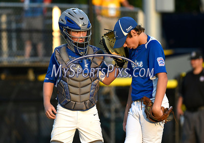 8/13/2016 Mike Orazzi | Staff Pennsylvania Keystone Little League's Cy Probst (26) and Aidan Major (29) during the Mid-Atlantic Final during the Eastern Regional Little League Tournament in Bristol Saturday evening.