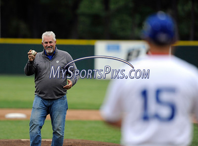 6/3/2016 Mike Orazzi | Staff  Bristol Superintendent of Parks and Recreation Ed Swicklas throws out a first pitch during the home opener of the Bristol Blues at Muzzy Field Friday night.