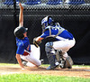 8/9/2016 Mike Orazzi | Staff<br /> New Jersey's Brandon Levy (18) safe at home as Pennsylvania's Cy Probst (26) applies the late tag during the Eastern Regional Little League Tournament at Breen Field in Bristol Tuesday.