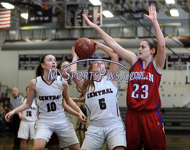 2/17/2016 Mike Orazzi | Staff Bristol Central's Brianna Hamel (15) and Berlin's Alyssa Grant (23) Wednesday night at Central.