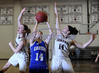 2/242/2016 Mike Orazzi | Staff Bristol Eastern's Diana Wnuk (14) and Bristol Central's Ashley Watson (10) and Sam Paradis (14) at BCHS Wednesday night.