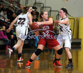 2/17/2016 Mike Orazzi | Staff Berlin's Alana Garofalo (32) and Bristol Central's Meghan Hamel (15)  Wednesday night at Central.