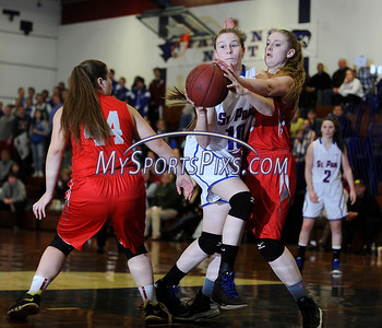 1/29/2016 Mike Orazzi | Staff St. Paul's Molly Hooks (10) and Wolcott's Briana Japs (15).