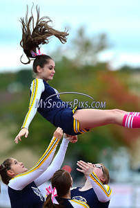 10/8/2016 Mike Orazzi | Staff The RHAM Sachems cheerleaders during Saturday's football game with Berlin in Hebron.