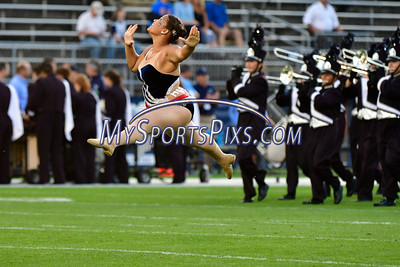 9/1/2016 Mike Orazzi | Staff Members of the UConn marching band during a 24-21 win over the Maine Black Bears at Rentschler Field in East Hartford Thursday night in the season opener.