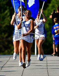 9/17/2016 Mike Orazzi | Staff CCSU cheerleaders in New Britain Saturday against Bowie State.