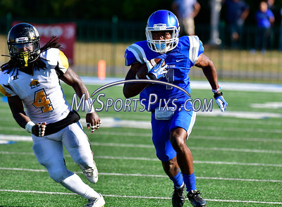 9/17/2016 Mike Orazzi   Staff CCSU's Joey Fields (1) Bowie State's Kevaugn Townsend (4) in New Britain Saturday.