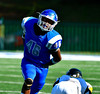 9/17/2016 Mike Orazzi   Staff<br /> CCSU's Jamel Jimerson (46) celebrates a sack on 4th down against Bowie State in New Britain Saturday.
