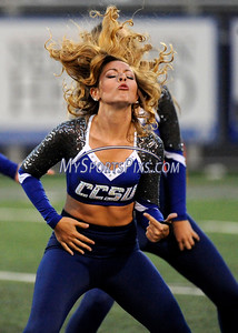 9/2/2016 Mike Orazzi | Staff  Members of the CCSU dance team at the season opening game in New Britain Friday night.