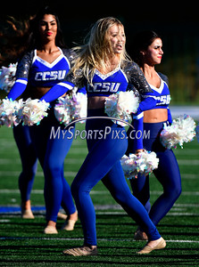 9/17/2016 Mike Orazzi | Staff Members of the CCSU Dance Team perform at half time against Bowie State in New Britain Saturday.