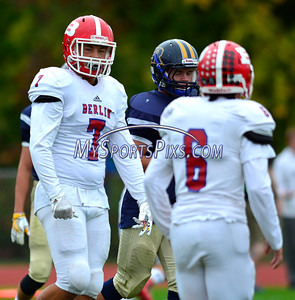 10/8/2016 Mike Orazzi | Staff Berlin's Malachi Burby (7) and Mitch Mazlowski (6) during Saturday's football game with the RHAM Sachems in Hebron.