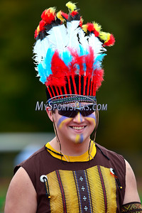 10/8/2016 Mike Orazzi | Staff The RHAM Sachems mascot during Saturday's football game with Berlin in Hebron.