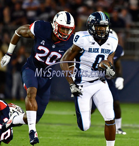 9/1/2016 Mike Orazzi | Staff UConn's Obi  Melifonwu (20) and the Maine Black Bears' Jaleel Reed (8)  during a 24-21 UConn win at Rentschler Field in East Hartford Thursday night in the season opener.