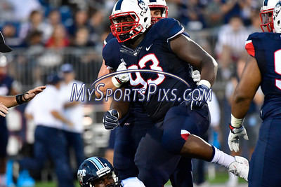 9/1/2016 Mike Orazzi | Staff UConn's Folorunso Fatukasi (93) during a 24-21 UConn win at Rentschler Field in East Hartford Thursday night in the season opener.