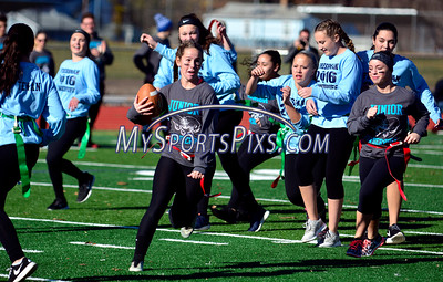 11/19/2016 Mike Orazzi | Staff Ashley Macdonald during the 17th annual Powder Puff Football game at Bristol Central High School Saturday morning.