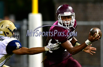 9/23/2016 Mike Orazzi | Staff Bristol Central's Isaiah Miller (5) and Platt's Zavian Arroyo (30) at Muzzy Field Friday night.