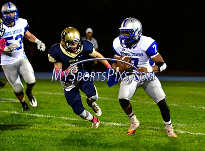 10/21/2016 Mike Orazzi | Staff  Newington's Connor Brennan (7) and Bristol Eastern's  Michael Barrett (7) Friday night.