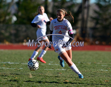 11/11/2016 Mike Orazzi | Staff Terryville's Joanna Johnson (4) during the Class S Quarterfinal girls soccer Friday.
