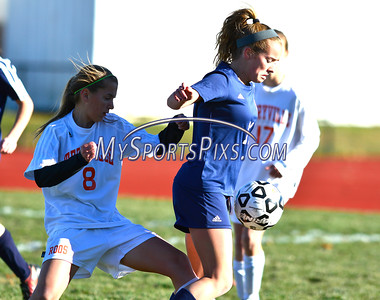 11/11/2016 Mike Orazzi | Staff Terryville's Lindsey Hotchkiss (8) and Bolton's Christina Langton (11) during the Class S Quarterfinal girls soccer in Terryville Friday.