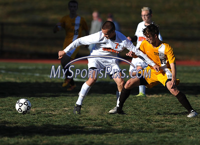 11/8/2016 Mike Orazzi | Staff Terryville's Derek Thibodeau (7) and Thomaston's Andrew Goodrich (17) during the Class S First Round Soccer Tournament at THS Tuesday.