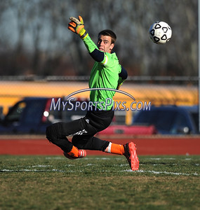 11/8/2016 Mike Orazzi | Staff Terryville's Josh Mazur (GK) during the Class S First Round Soccer Tournament at THS Tuesday.