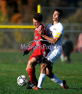 10/25/2016 Mike Orazzi | Staff Berlin's Curtis Arcari (13) and Bristol Central's Mike Lemke (13) at Bristol Central High School Tuesday afternoon.
