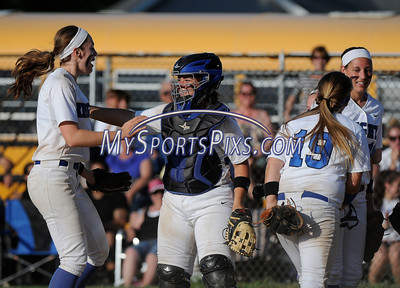 6/2/2016 Mike Orazzi | Staff Southington High School celebrate a win in the Class LL Quarterfinals of the CIAC 2016 State Softball Tournament in Southington Thursday.
