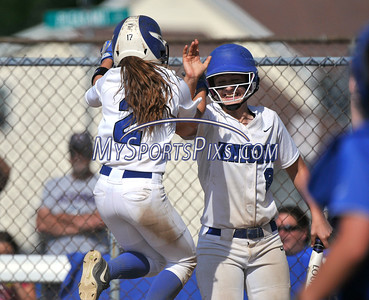 6/2/2016 Mike Orazzi | Staff Southington High School's Michelle Woodruff (2) and Delaney Picard (9) during the Class LL Quarterfinals of the CIAC 2016 State Softball Tournament in Southington Thursday.