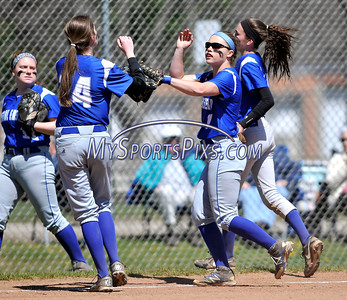 4/15/2016 Mike Orazzi   Staff Bristol Eastern's Anna Kelley (14) and Jen Tabacco (7) on Friday at Eastern.