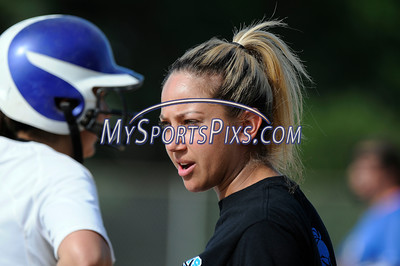 6/2/2016 Mike Orazzi | Staff Southington High School softball coach Davina Hernandez during the Class LL Quarterfinals of the CIAC 2016 State Softball Tournament in Southington Thursday.