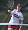 5/20/2016 Mike Orazzi | Staff<br /> Bristol Central's Jen Varley during Central vs Eastern tennis match Friday.