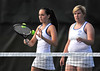 5/20/2016 Mike Orazzi | Staff<br /> Bristol Eastern's Morgan Dauphinee and Kim Edgerly during Central vs Eastern tennis match Friday.