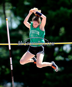 7/16/2016 Mike Orazzi | Staff Kyleigh Dumas competes in the pole vault during the Nutmeg State Games at Willow Brook Park on Saturday.