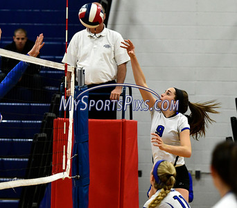 11/2/2016 Mike Orazzi | Staff Southington's Megan Mahon (9) during Wednesday night's volleyball match with Tolland High School during the CCC Volleyball Tournament.