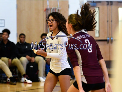 11/3/2016 Mike Orazzi | Staff Innovation's Imani Rosado (15) and Bailee Nardi (3)  during the CRAL Volleyball Championship Thursday in New Britain.