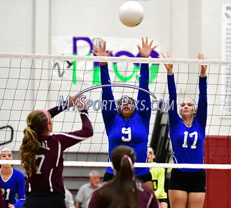 10/26/2016 Mike Orazzi | Staff Bristol Central's Peyton Gregor (17) and Bristol Eastern's Sienna White (9) and Gabriella Nozzolillo (17) during Wednesday night's match at Central.