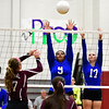 10/26/2016 Mike Orazzi | Staff<br /> Bristol Central's Peyton Gregor (17) and Bristol Eastern's Sienna White (9) and Gabriella Nozzolillo (17) during Wednesday night's match at Central.