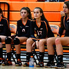 10/4/2016 Mike Orazzi | Staff<br /> Terryville volleyball's Nicole Tessman (11) Cara Andrews (0), along with (17) and (5) not on the roster.