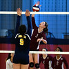 11/3/2016 Mike Orazzi | Staff<br /> Innovation's Bailee Nardi (3) and HMTCA's  Jada Ortiz (9) during the CRAL Volleyball Championship Thursday in New Britain.
