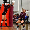 10/26/2016 Mike Orazzi | Staff<br /> Bristol Central's Brianna Saverino (5) and Peyton Greger (17) during Wednesday night's volleyball match with Bristol Eastern.