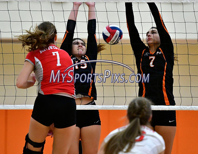 10/4/2016 Mike Orazzi | Staff Northwestern's Molly Clarke (7) and Terryville's Alycia Calabrese (15) and Martina Trovato (7).