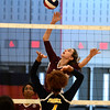 11/3/2016 Mike Orazzi | Staff<br /> Innovation's Bailee Nardi (3) and HMTCA's Bashara Samuda (7) during the CRAL Volleyball Championship Thursday in New Britain.