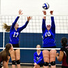10/19/2016 Mike Orazzi | Staff<br /> Bristol Eastern's Gabriella Nozzolillo (17) and Mikayla Martin (10) during Wednesday nights volleyball match in Bristol.