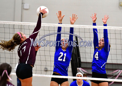 10/26/2016 Mike Orazzi | Staff Bristol Central's Peyton Greger (17) and Bristol Eastern's Aliana Rivoira (21) and Olivia Beaudoin (4) during Wednesday night's match at Central.